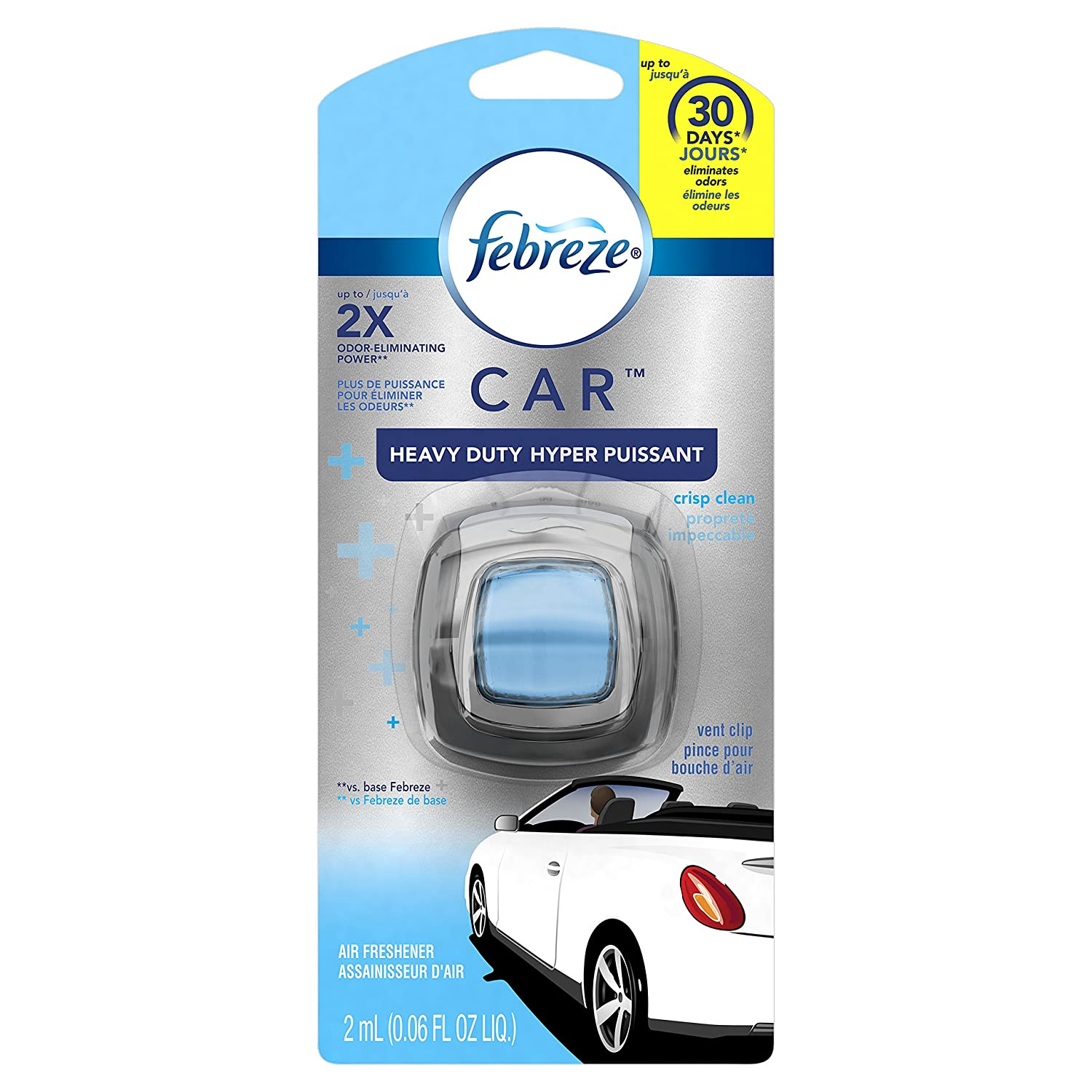 Febreze CAR Vent Clips Linen & Sky Air Freshener 3 Count - Packaging May Vary Procter and Gamble
