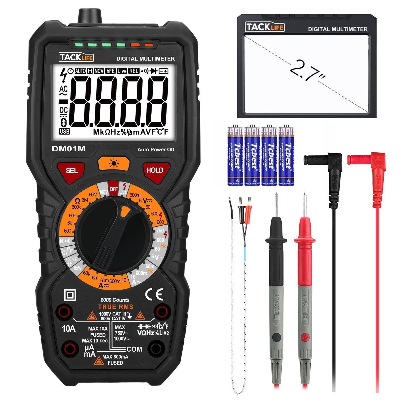 Multímetro Digital profesional 6000 counts, 1000V TRUE RMS Tacklife DM01M