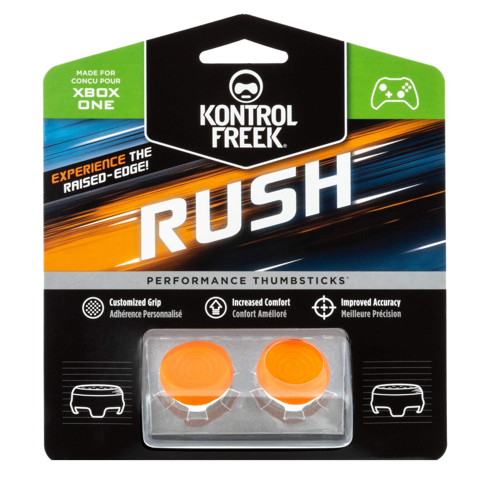 KontrolFreek Rush Performance Thumbsticks for Xbox One | Performance Thumbsticks | 2 Mid-Rise, Concave | Orange/White by KontrolFreek