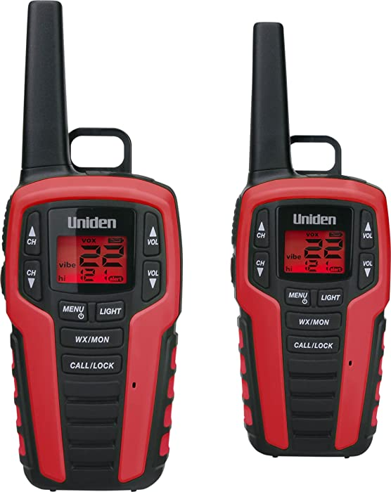 Uniden SX327-2CKHS Up to 32-Mile Range FRS Two-Way Radio Walkie Talkies, Dual Charging Cradle & 2 Headsets, Water Resistant, 22 Channels, 121 Privacy Codes, NOAA Weather + Alert, LED Flashlight