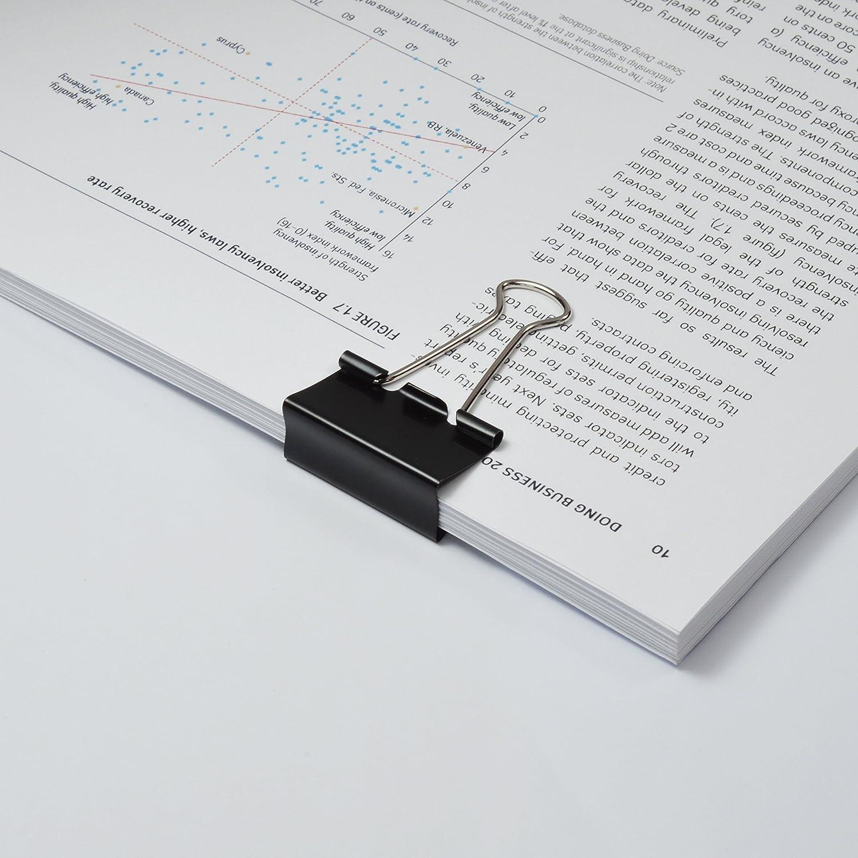 Caja de 10 pinzas sujetapapeles de 50 mm hasta 160 hojas Rapesco color negro