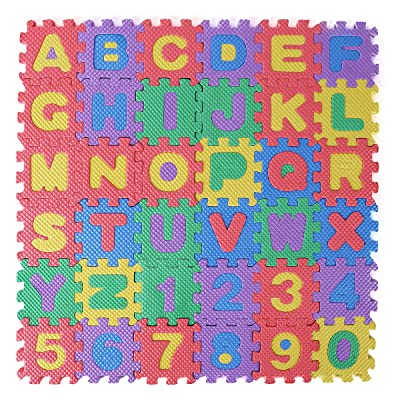 36 Tiles Kids Anti-slip Alphabet Numbers Interlocking Play Mat Colorful Foam Early Education Learning Floor Puzzle