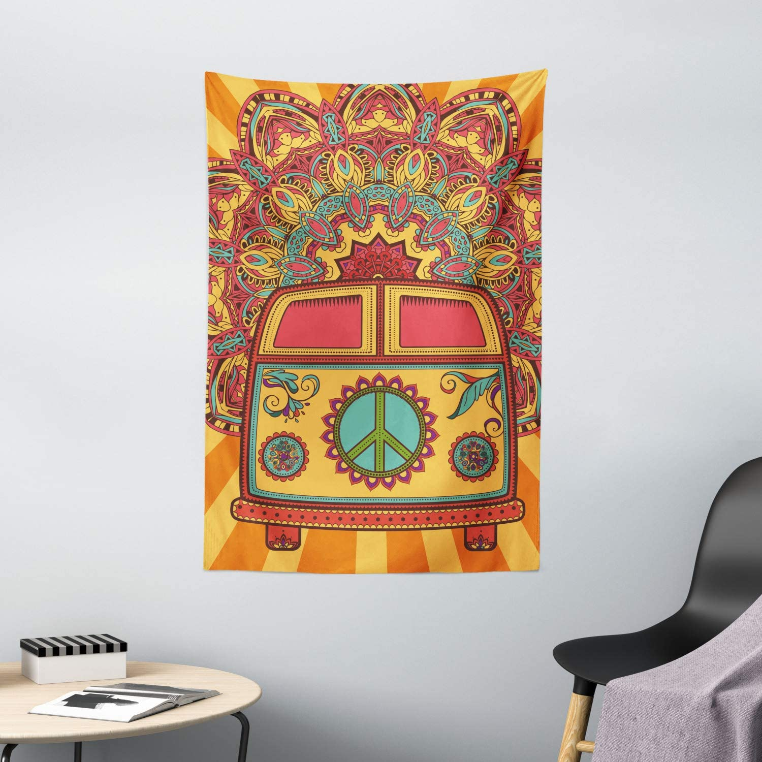Coral Tapestry Vintage Old Fashion Art Print Wall Hanging Decor