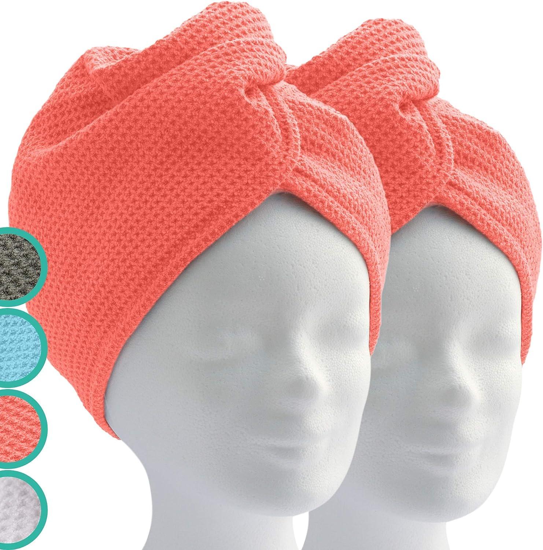 ELEXACARE Turban - Toalla con botón (2 unidades, diferentes color), toalla de microfibra para la cabeza y el pelo largo., microfibra, 2 coral rojo (naranja)., ca. 28x65cm (2er Set)