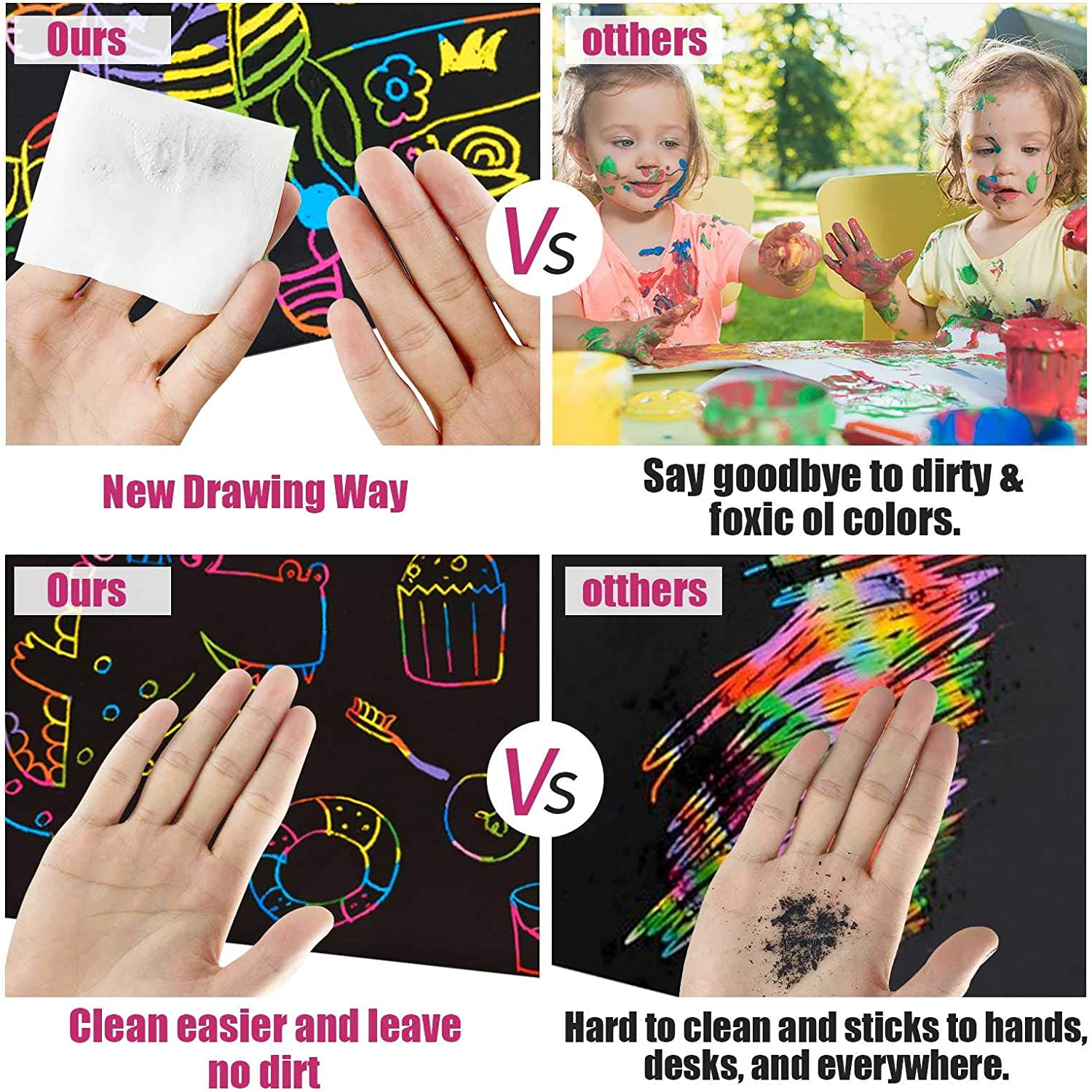 with 5 PCS Wooden Stylus /& Dinosaur stickers Scratch Paper Art Set Rainbow scratch paper Black Kids Birthday Gifts for Party Childrens Day Halloween Christmas 50 PCS Rainbow Magic Scratch Paper