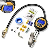 Digital Tire Inflator with Pressure Gauge, 200 PSI Air Chuck and Compressor Accessories Heavy Duty with Rubber Hose, Valve Extender, Quick Connect Coupler for Car, Truck, SUV, Motorcycle, Bike, RV