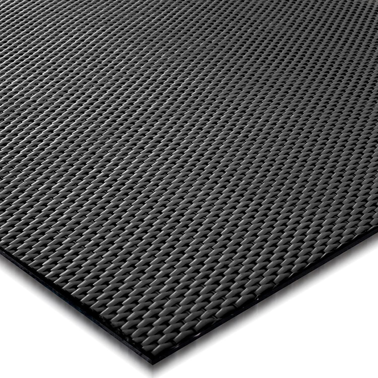 casa pura Padua Black Flat Weave Non Slip Protector Mat | For Office Chairs etc. | 90x120cm | 6 Sizes
