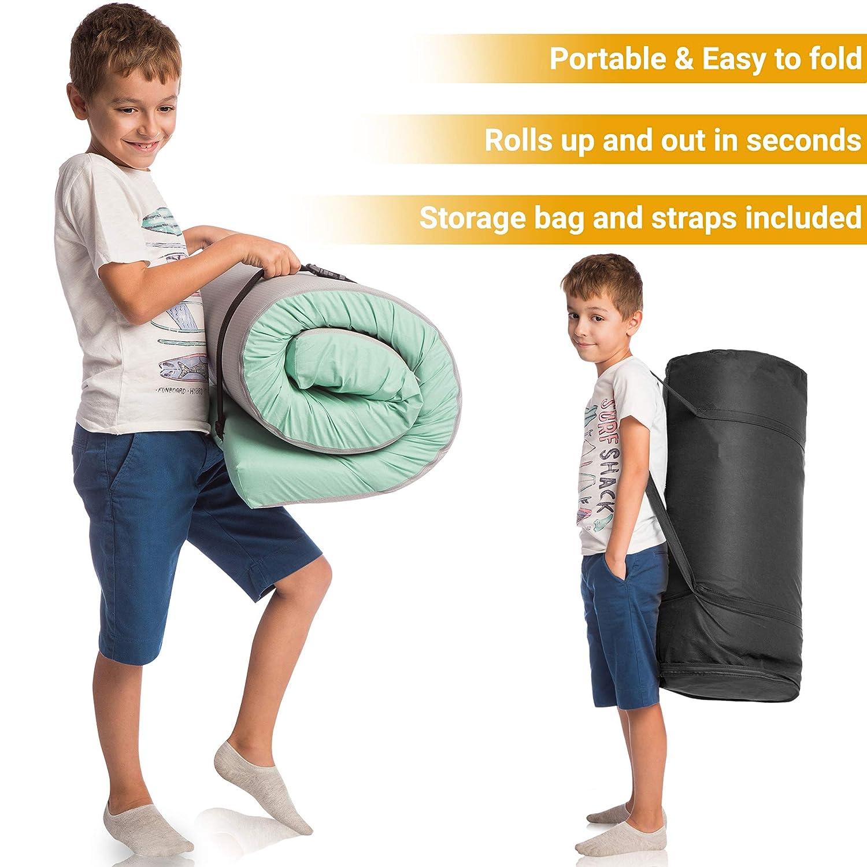 Hazli Waterproof Cotton Memory Foam Floor Mattress Most Comfortable Portable Sleeping Floor Pad Roll up Camping Mattress Pad