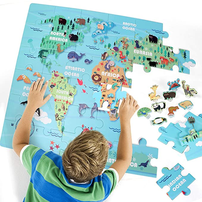Puzzle MiniWhale Jigsaw Puzzle Istruzione e apprendimento My Time Travel Floor Puzzle per Bambini Bambini Toddlers Ragazze Puzzle Puzzles Giocattolo 3-10 Anni
