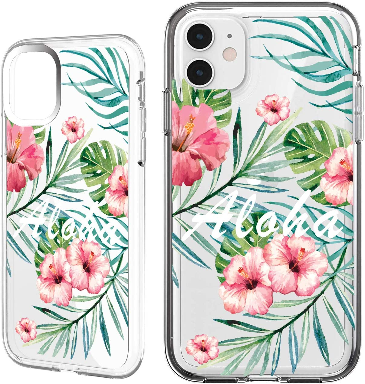 Shark Compatible Summer Tropical Rose Peach Floral Fruit Aloha Silicone TPU Back Cover for iPhone X/iPhone Xs