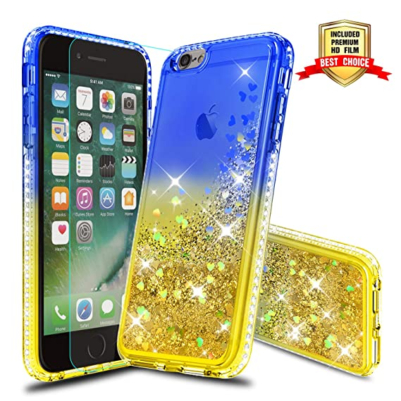new products 6f94c 64413 iPhone 6S Plus Case, Girly Cases with HD Screen Protector, Atump Fun  Glitter Liquid Sparkle Diamond Cute TPU Silicone Protective Phone Cover  (5.5 ...