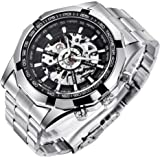 Mens Watches, Mechanical Skeleton Stainless Steel Waterproof Automatic Self-Winding Watch for Men, Luxury X Dial…