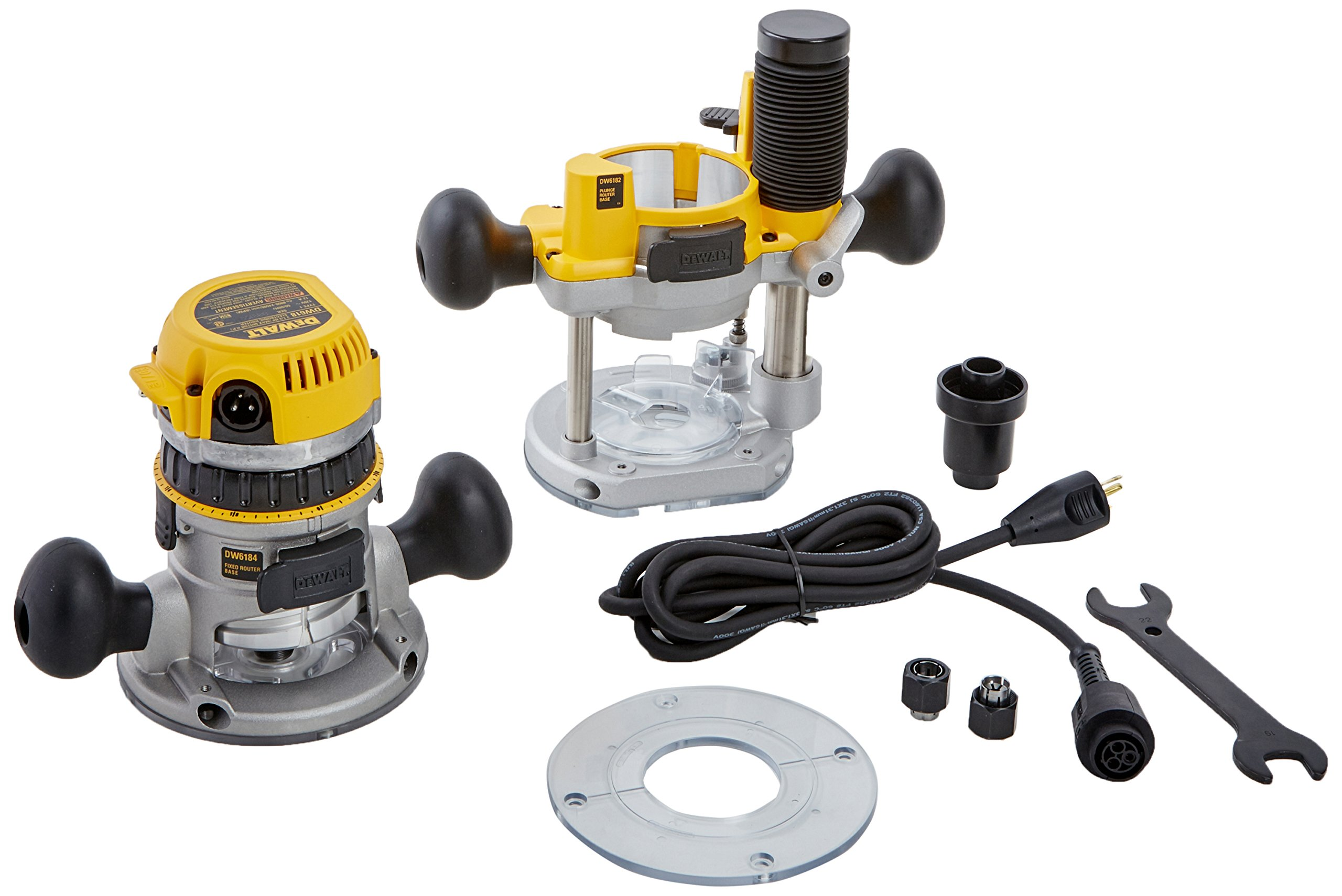 DEWALT DW618PK 12-AMP 2-1/4 HP Plunge and Fixed-Base Variable-Speed Router Kit by DEWALT
