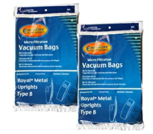 6 Royal Upright Type B Vacuum Cleaner Allergy Bags, Top Full Vacuum Cleaners, RO-2-066247-001, Royal 3067247001, 3-067247-001, 3-671075-001, Royal 3671075001, 673Z, 7730Z, 673Z