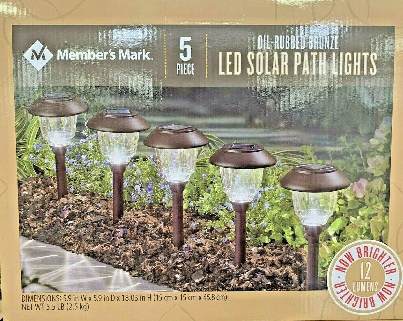 Member s Mark 5-Piece Oil-Rubbed Bronze Led Solar Path Lights