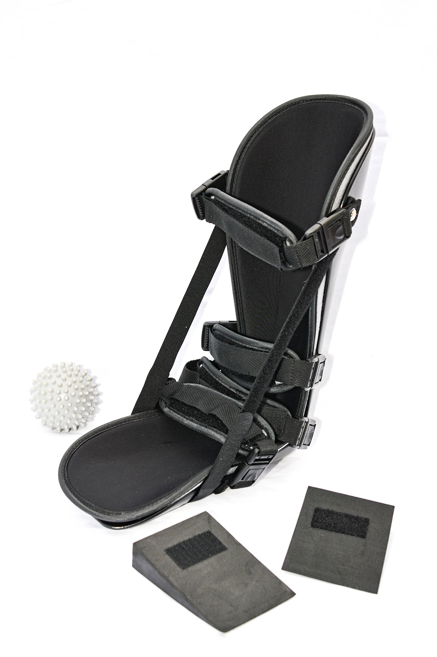StrictlyStability Plantar Night Boot with 4 Straps, Double Sided Buckles, 2 Stretch Wedges & Massage Ball (Medium)