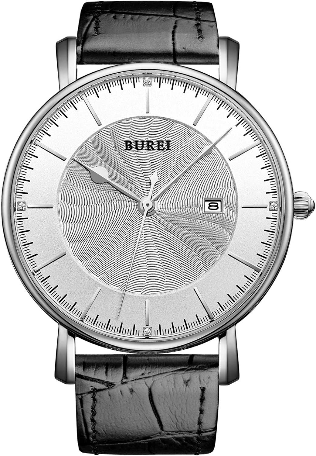 BUREI Men Womens Ultra Thin Watches Analog Quartz Date Dial with Soft Band