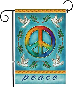 Bonsai Tree Peace Garden Flag, Burlap Double Sided Small Peace Sign Flag 12x18 Inch for Yard Outdoor Decoration