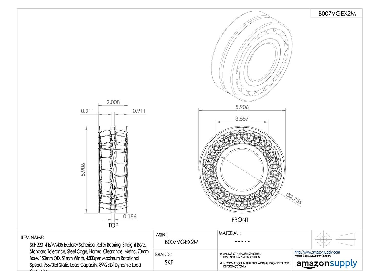 Metric 4500rpm Maximum Rotational Speed SKF 22314 E//VA405 Explorer Spherical Roller Bearing 96670lbf Static Load Capacity 51mm Width 70mm Bore 89925lbf Dynamic Load Capacity Normal Clearance Steel Cage Standard Tolerance 150mm OD Straight Bore