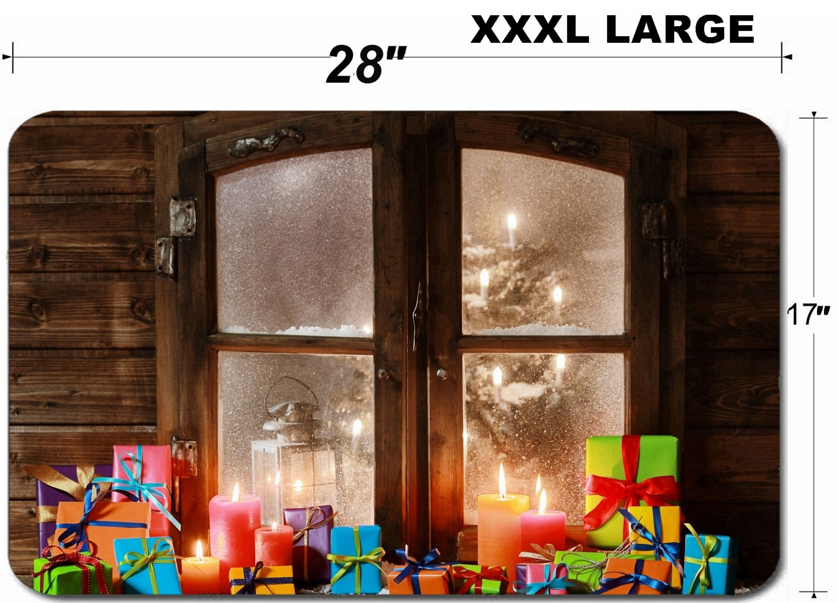 Liili Large Table Mat Non-Slip Natural Rubber Desk Pads IMAGE ID 32444512 Various Colored Christmas Presents and Lighted Candles at Vintage Window Pane