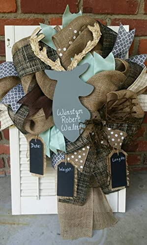 Woodland Deer Nursery Decor Gray Deer Wreath Rustic Nursery Woodland Burlap  Wreath Mint Deer Baby Shower