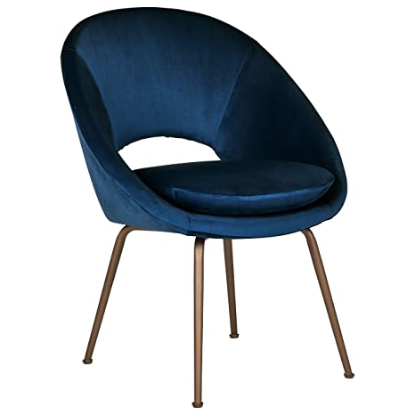"Rivet Modern Upholstered Orb Office Chair, 20""H, Blue/Antique Bronze - Amazon.com: Rivet Modern Upholstered Orb Office Chair, 20"
