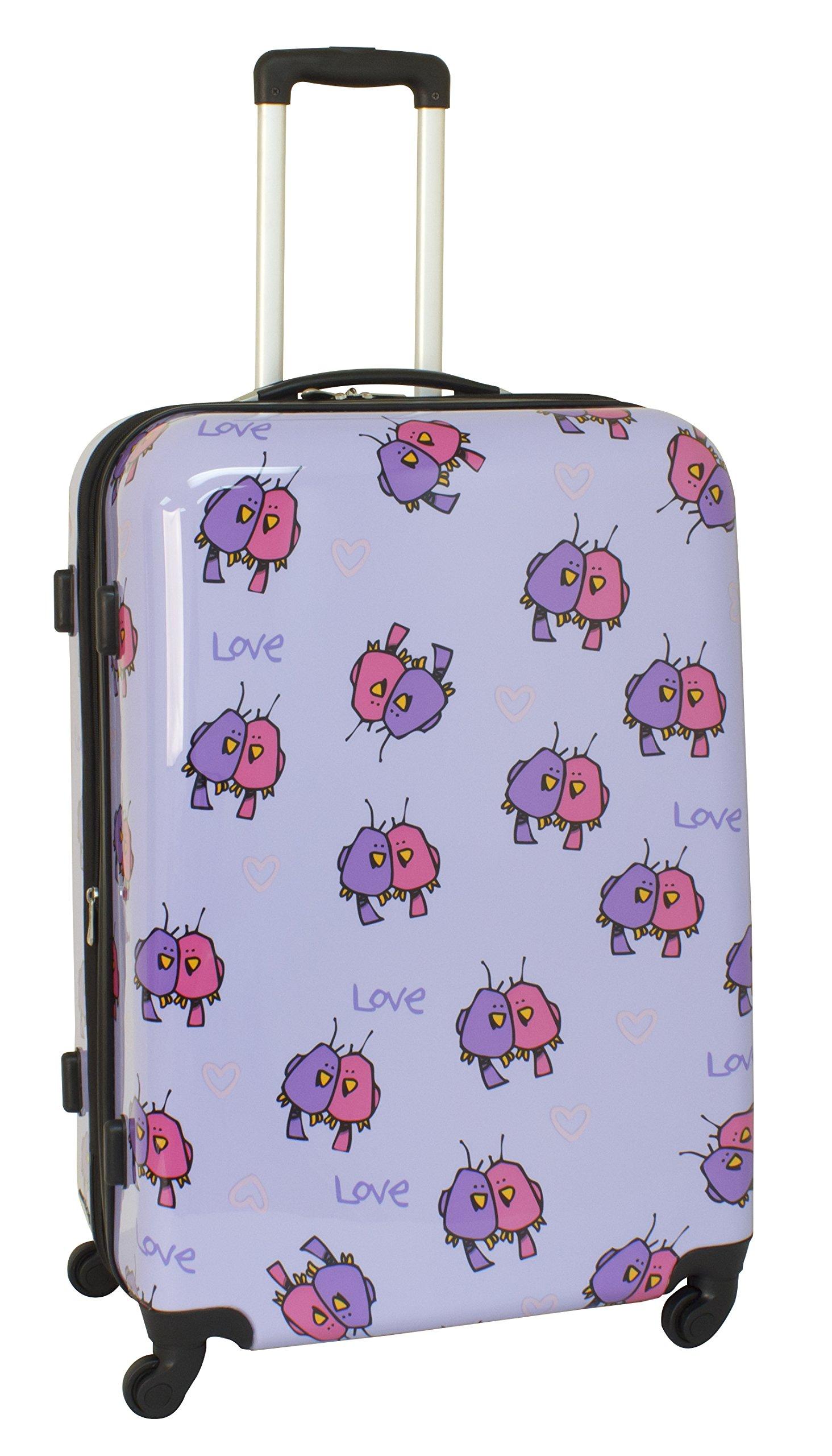 Ed Heck Multi Love Birds Hardside Spinner Luggage 28 Inch, Light Purple, One Size