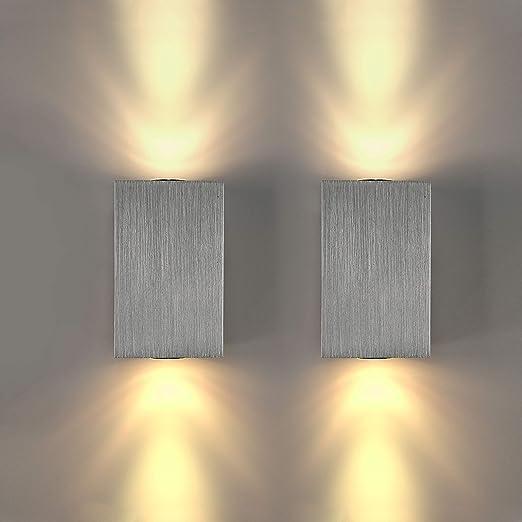 Lightess Applique da Parete Interni 2 Pezzi Lampada a Muro Applique LED  Moderne in Alluminio 6W per Decorazione Soggiorno Camera da Letto Bagno