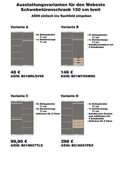 Schwebetürenschrank weiß 150 breit  Schwebetürenschrank, Schiebetürenschrank, ca. 150 cm breit, Buche ...