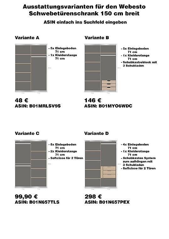 Schwebetürenschrank, Schiebetürenschrank, Ca. 150 Cm, Weiss Mit Spiegel,  Kleiderschrank: Amazon.de: Küche U0026 Haushalt