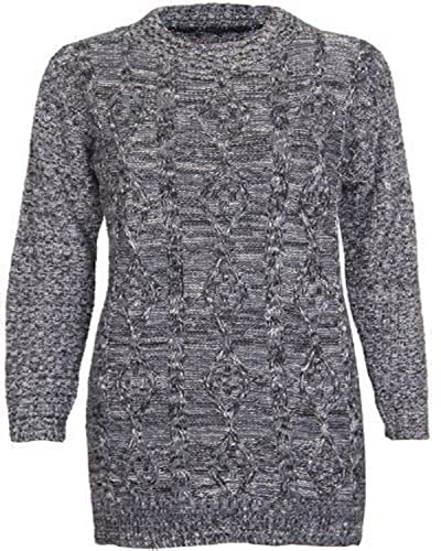 Friendz Trendz-Womens Cable de punto Chunky Jumper Suéter Top (ML, CHARCOAL)