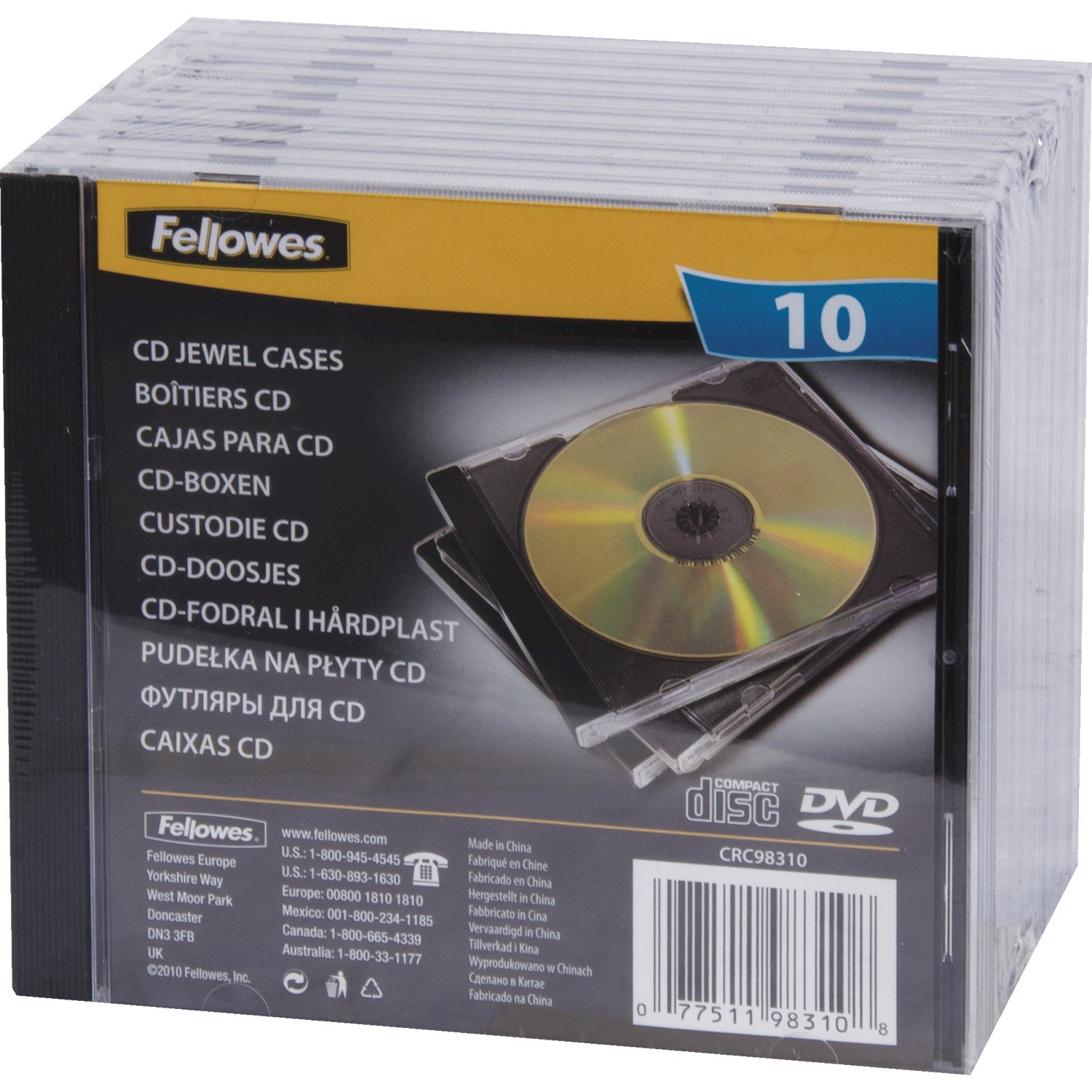 Fellowes, CD JEWEL Funda (Negro, Transparente), Pack of 10
