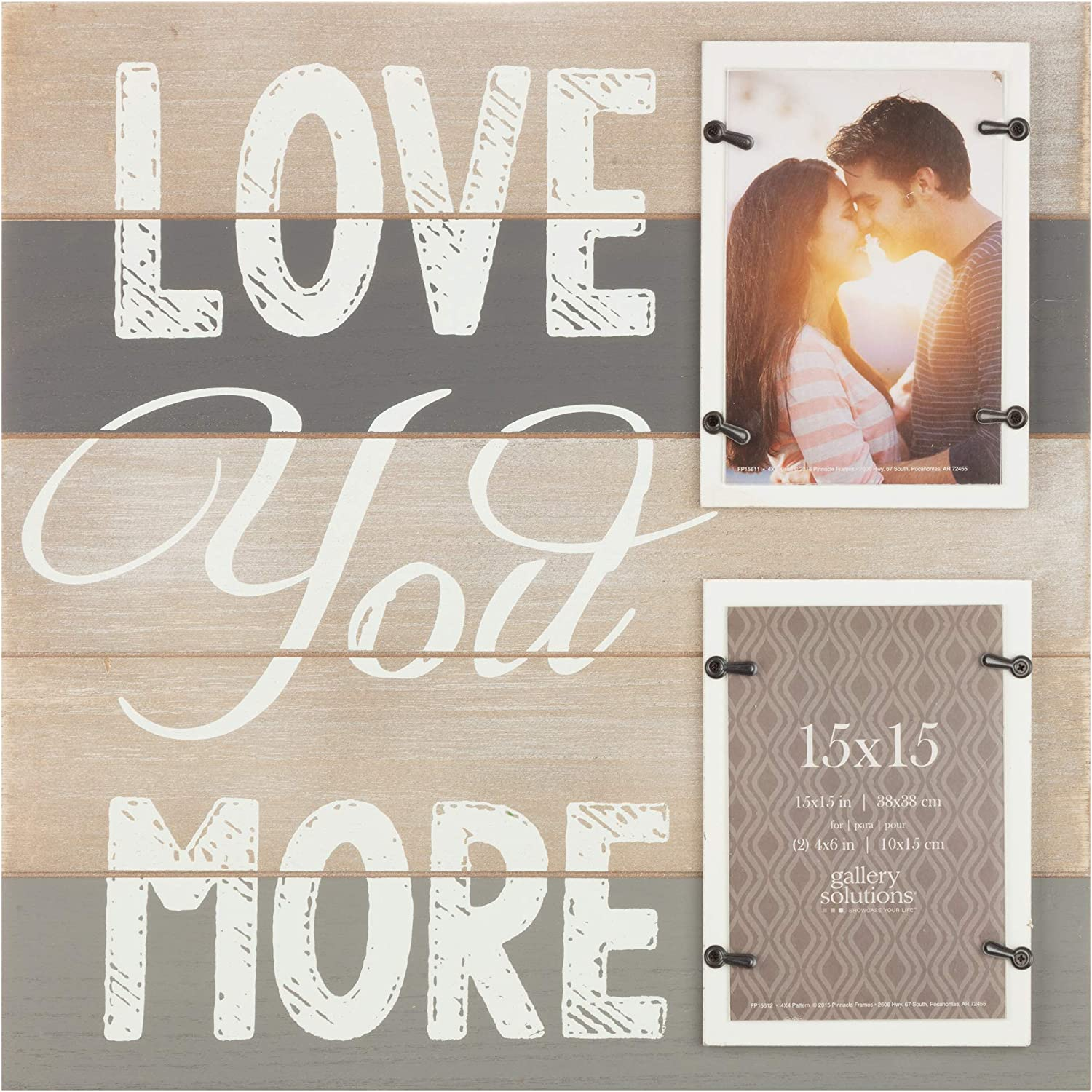 Gallery Solutions 2 Collage Wall Hanging Picture, 4x6 LOVE YOU MORE PLANK FRAME with 2-4X6 OPENINGS, Brown
