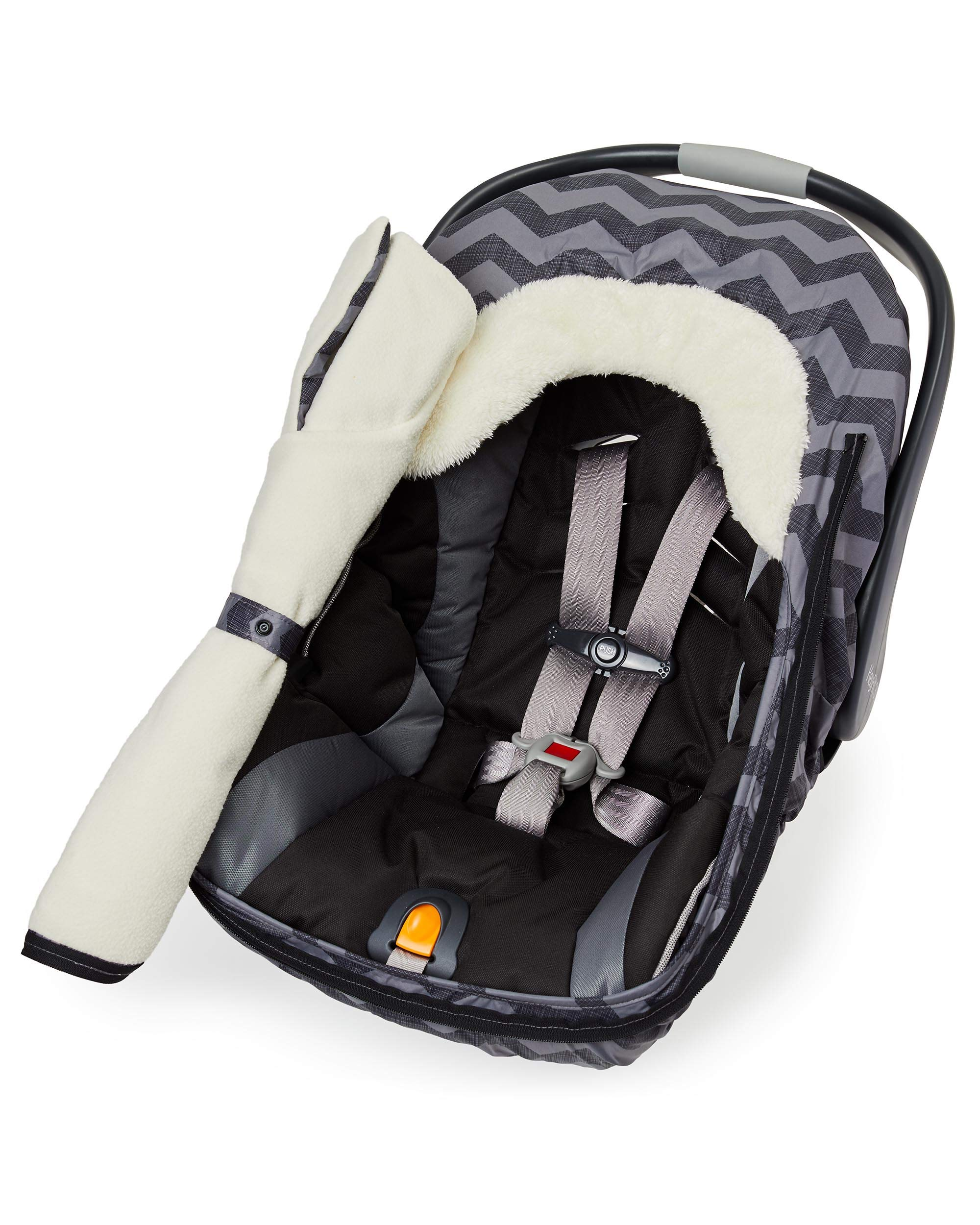 Skip Hop Stroll & Go Infant & Toddler Automotive Car Seat Cover Bunting Accessories, Universal Fit, Tonal Chevron, Black Chevron by Skip Hop (Image #3)