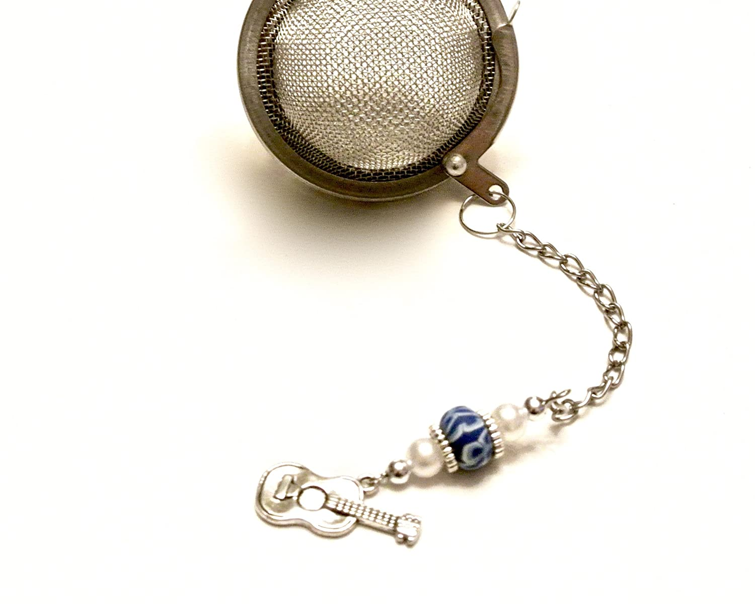 Guitar Tea Infuser Ball with Blue and White Beads