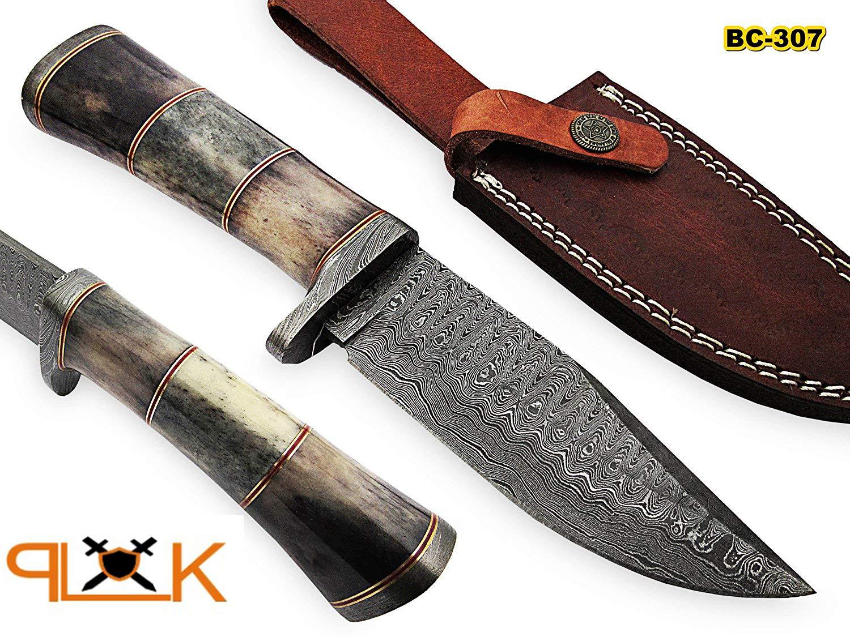 BC-307 Limited Edition - Custom Handmade Damascus Steel knife -Coloured Bone Handle by Poshland