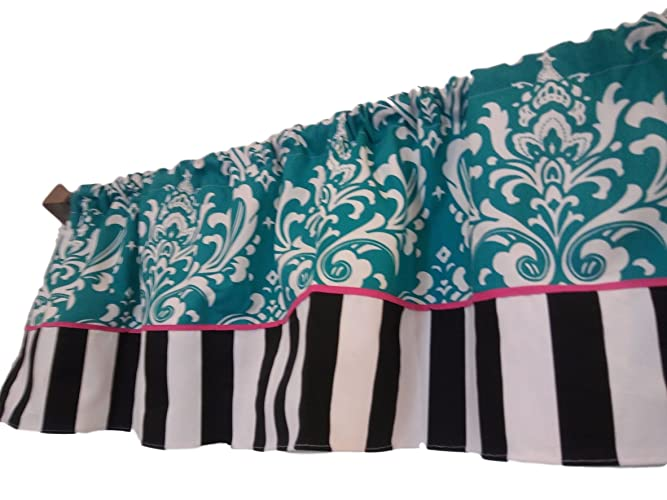 Amazon.com: Teal and white damask, hot pink piping, black ...