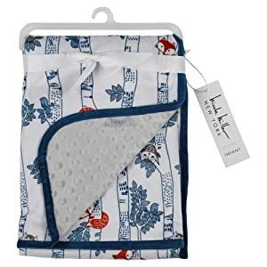 Nicole Miller New York Infant Boys Double Sided Mink Blanket, Owl and Fox Print