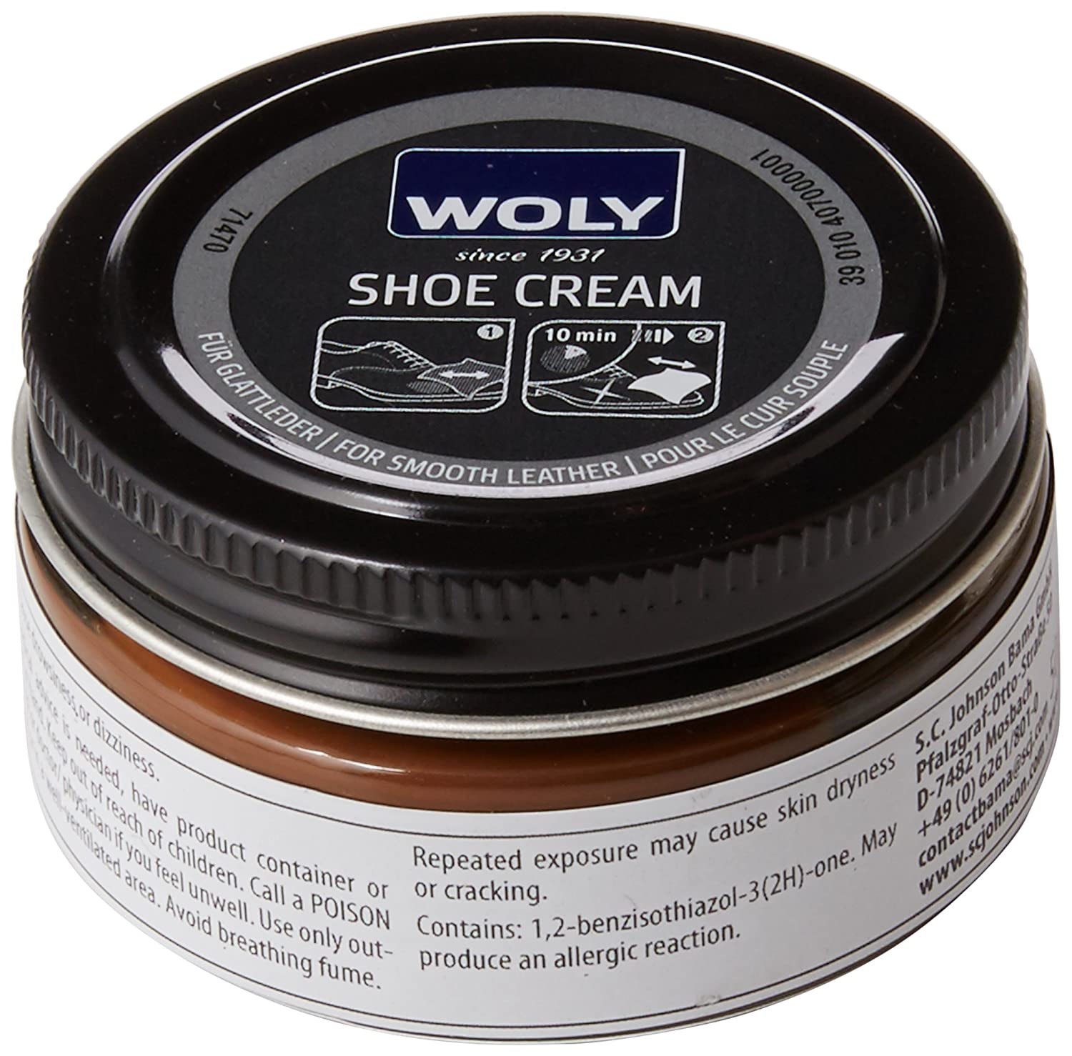 Woly Shoe Cream, Betún y reparación de Zapatos Unisex Adulto, Marrón (Coffee), 50.00 ML 71470