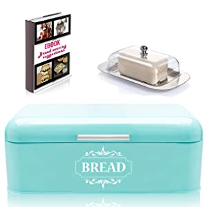 "Vintage Bread Box For Kitchen Stainless Steel Metal in Retro Turquoise + FREE Butter Dish + FREE Bread Serving Suggestions eBook 16.5"" x 9"" x 6.5"" Large Bread Bin storage by All-Green Products"