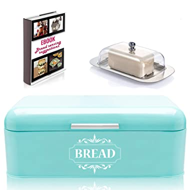 Vintage Bread Box For Kitchen Stainless Steel Metal in Retro Turquoise + FREE Butter Dish + FREE Bread Serving Suggestions eBook 16.5  x 9  x 6.5  Large Bread Bin storage by All-Green Products