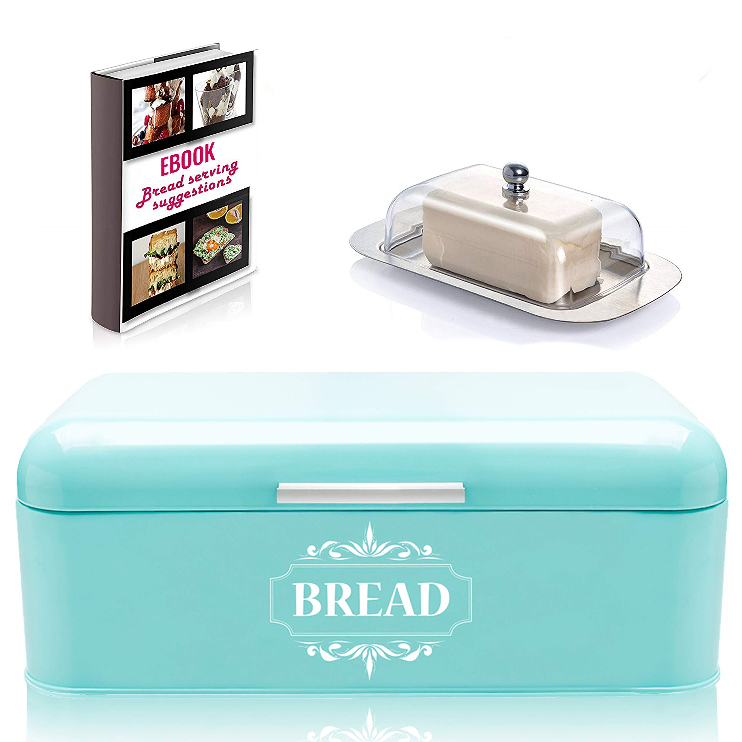 Vintage Bread Box For Kitchen Stainless Steel Metal in Retro Turquoise + FREE Butter Dish + FREE Bread Serving Suggestions eBook 16.5'' x 9'' x 6.5'' Large Bread Bin storage by All-Green Products