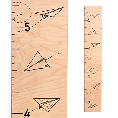 Paper Plane Wooden Growth Chart | Baby Shower Gift | Measuring Height Chart for Babies, Kids, Boys & Girls: Baby