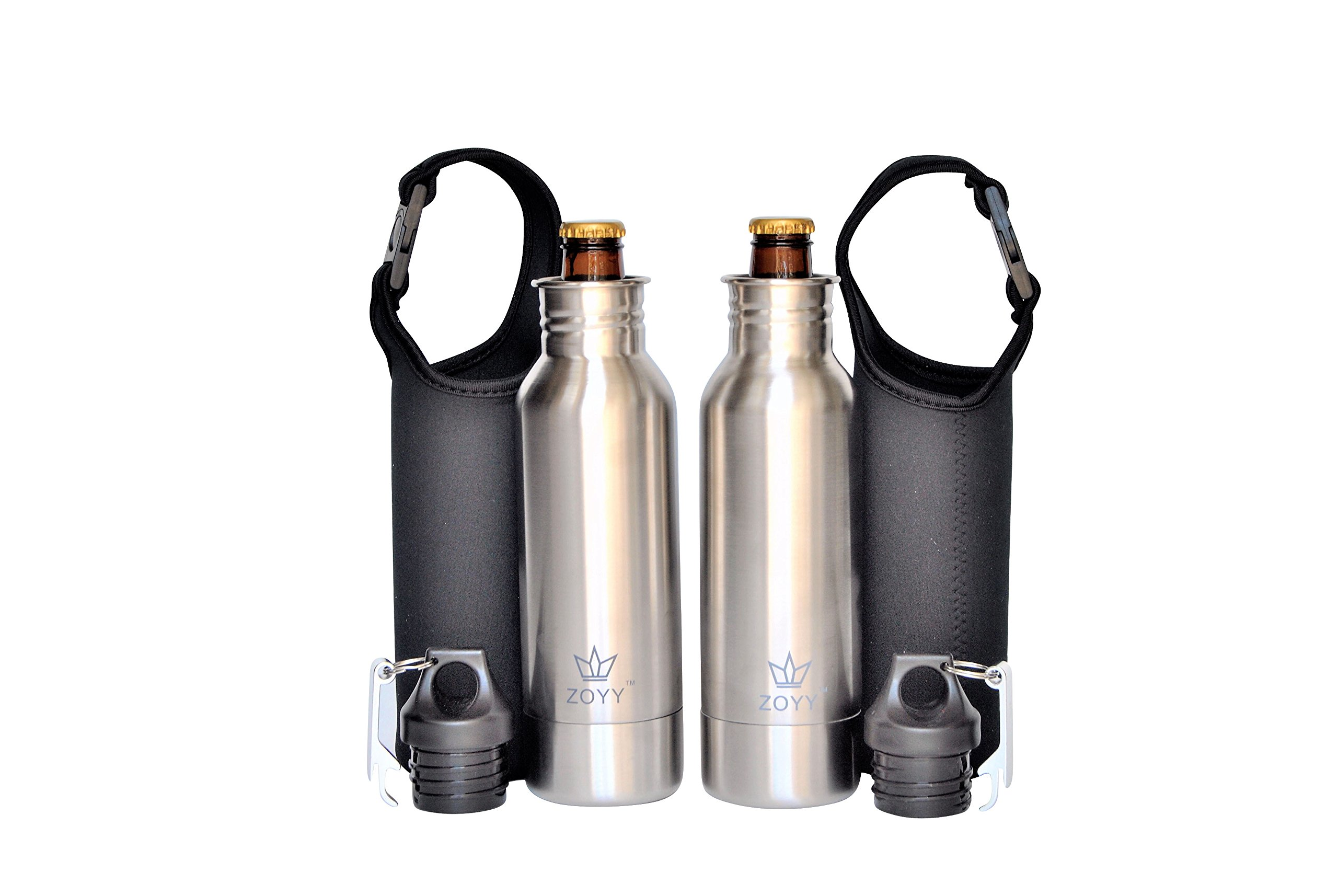 2x Stainless Steel Beer Bottle Holder Insulator With Opener and Carrying Case