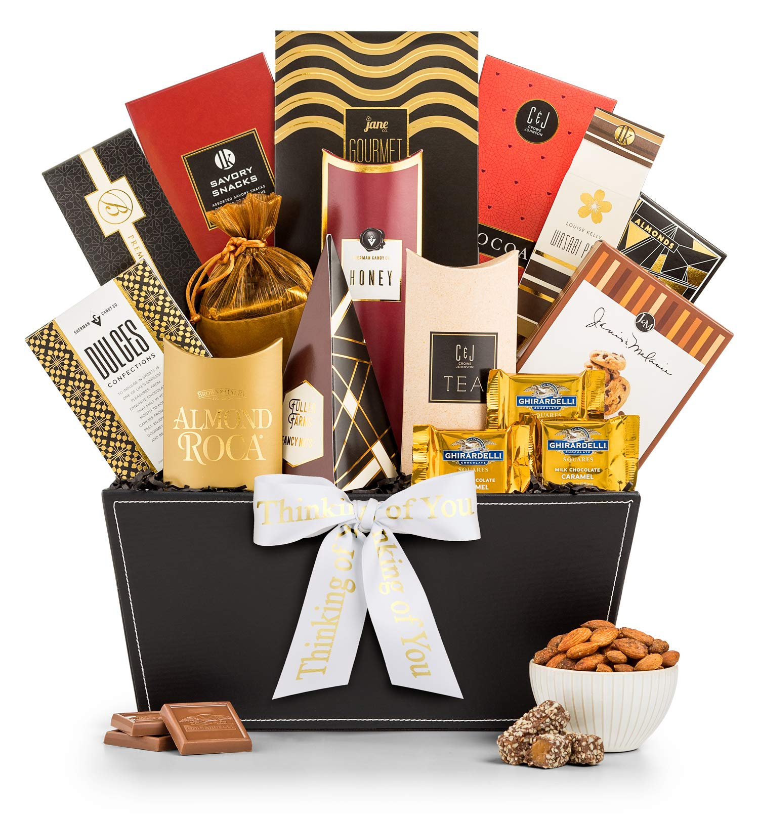 CDM product GiftTree Broadway Gourmet Thinking of You Gift Basket | Premium Chocolate, Gourmet Cookies, Mixed Nuts & More | Show Them They're On Your Mind big image