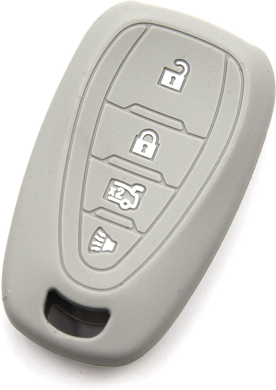 LIGHTKOREA 2Pcs 4Button Silicone fob Remote Smart Key Case Protector Cover Compatible with Chevrolet Chevy Malibu Camaro Cruze Traverse Sonic Volt Bolt Equinox Orange + Random