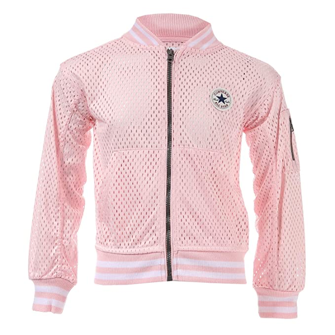d63431f594f8 Converse Infant Girls Mesh Bomber Jacket in Pink- Zip Fastening- Ribbed  Cuffs