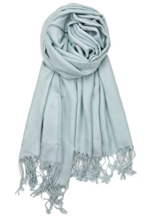 b69af7cd11129 Achillea Large Soft Silky Pashmina Shawl Wrap Scarf in Solid Colors (Pale  Teal): Amazon.in: Clothing & Accessories