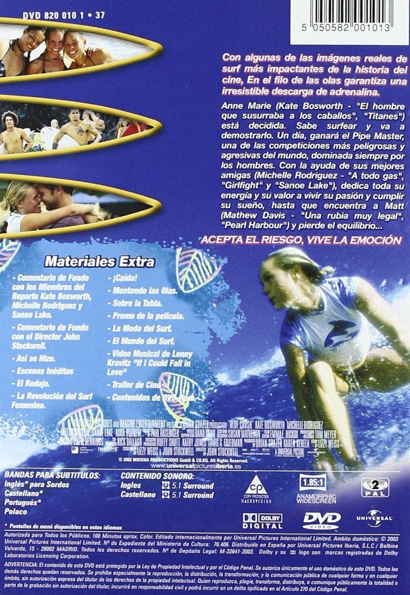 En El Filo De Las Olas (Blue Crush) [DVD]: Amazon.es: Kate Bosworth, Sanoe Lake, Mika Boorem, Kala Alexander, Ruben Tejada, Chris Taloa, Michelle Rodriguez, ...