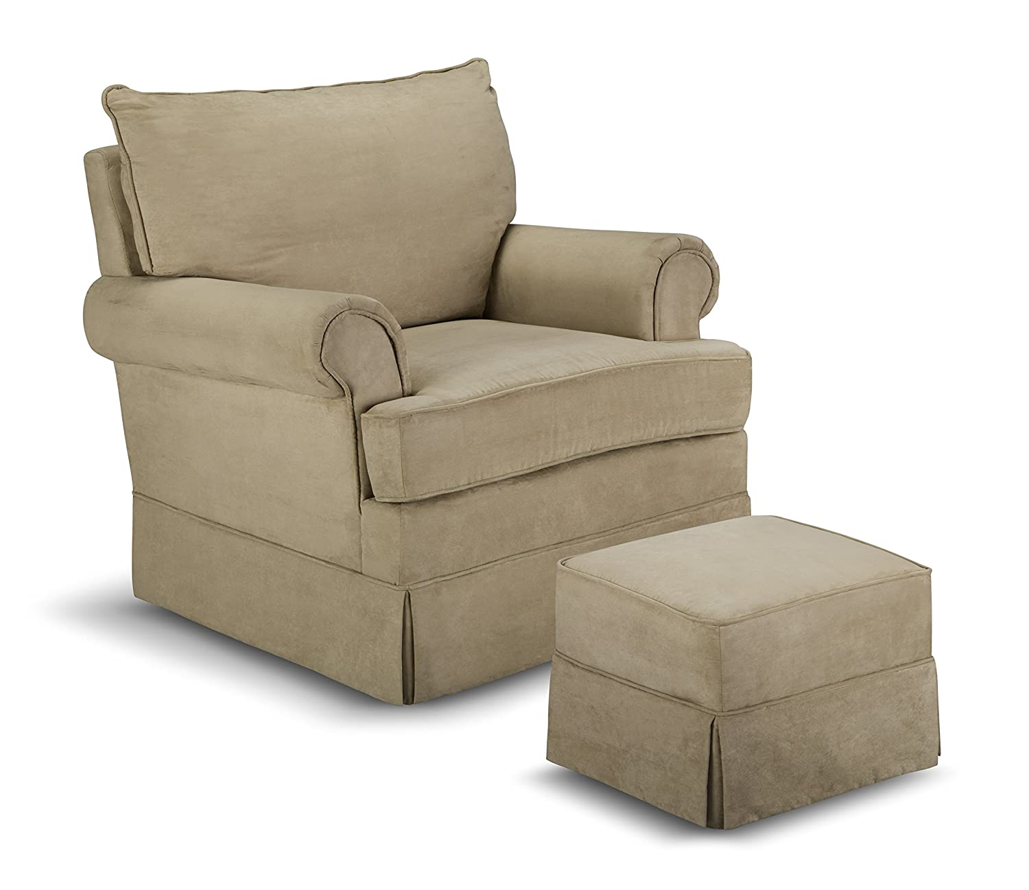 Amazon.com: Thomasville Kids Grand Royale Upholstered Swivel Glider And  Ottoman, Beige: Baby